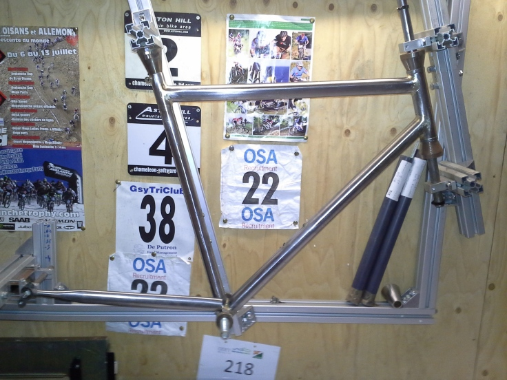 steel frame on bike jig